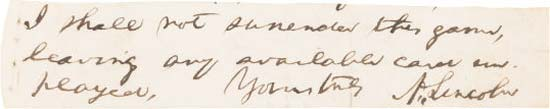Abraham Lincoln: Highly Important Autograph Quotation Signed