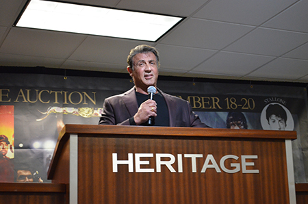 Sylvester Stallone on the podium