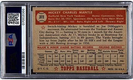1952 Topps Mickey Mantle #311 PSA EX-MT 6
