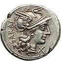 M. Atilius Saranus (148 BC). AR denarius