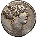 T. Carisius (46 BC). AR denarius