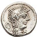 M. Opeimius (131 BC). AR denarius