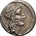 Q. Cassius Longinus (55 BC). AR denarius
