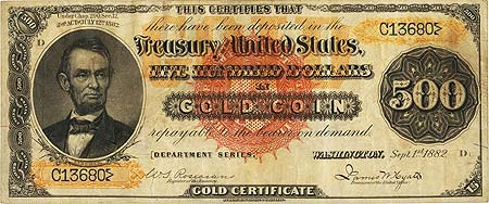 Fr. 1215d $500 1882 Gold Certificate PCGS Very Fine 35