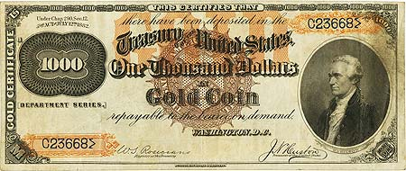 coin 122113 3 500 1882 Gold Certificate May Bring $2 Million At FUN Currency Signature Auction