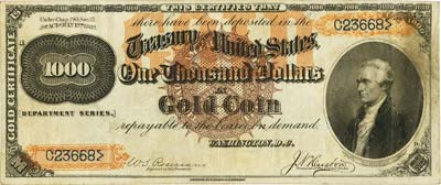 coin 122113 4 500 1882 Gold Certificate May Bring $2 Million At FUN Currency Signature Auction