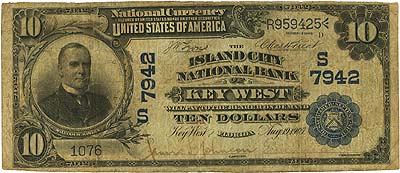 Key West, FL - $10 1902 Date Back Fr. 617 The Island City NB Ch. # (S)7942 PMG Choice Fine 15 Net