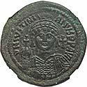 Justinian I follis, NGC XF