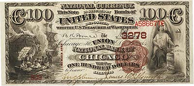 Chicago, IL - $100 1882 Brown Back Fr. 520 The Union NB Ch. # 3278