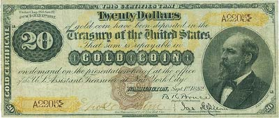 Fr. 1175 $20 1882 Gold Certificate PMG Very Fine 20