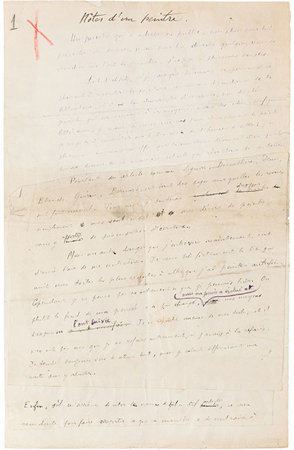 Henri Matisse. Autograph Manuscript Signed