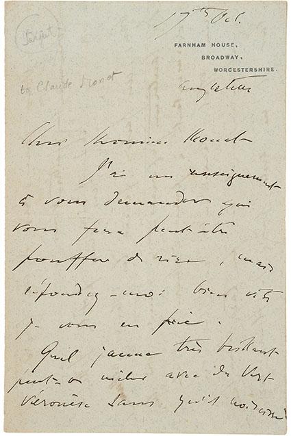 John Singer Sargent. Autograph Letter Signed