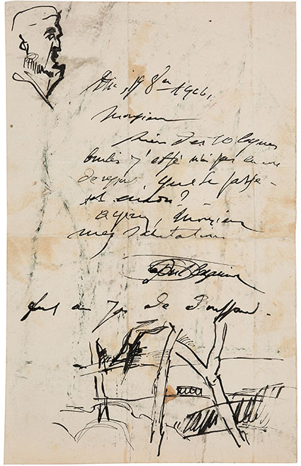 Paul Cezanne. Autograph Letter Signed With Sketches